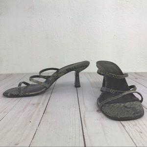Ann Taylor green snake skin strap heel sandal 6.5